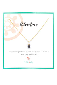 Black Onyx Charm Necklace - Inspirational Card