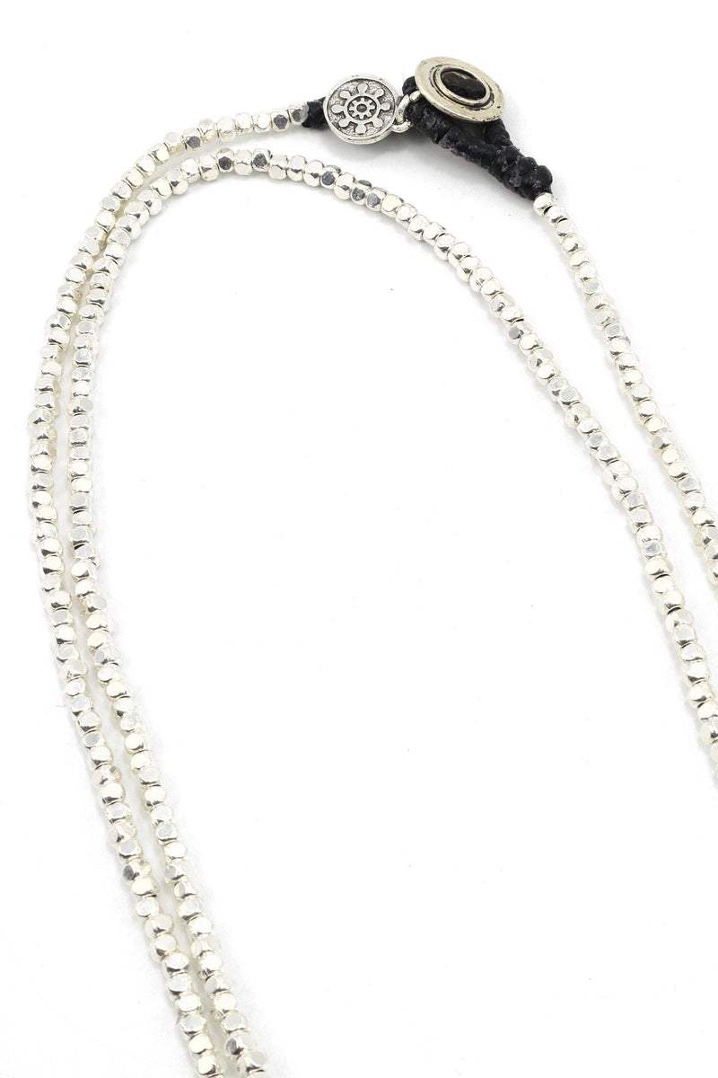 Long Beaded Silver Necklace