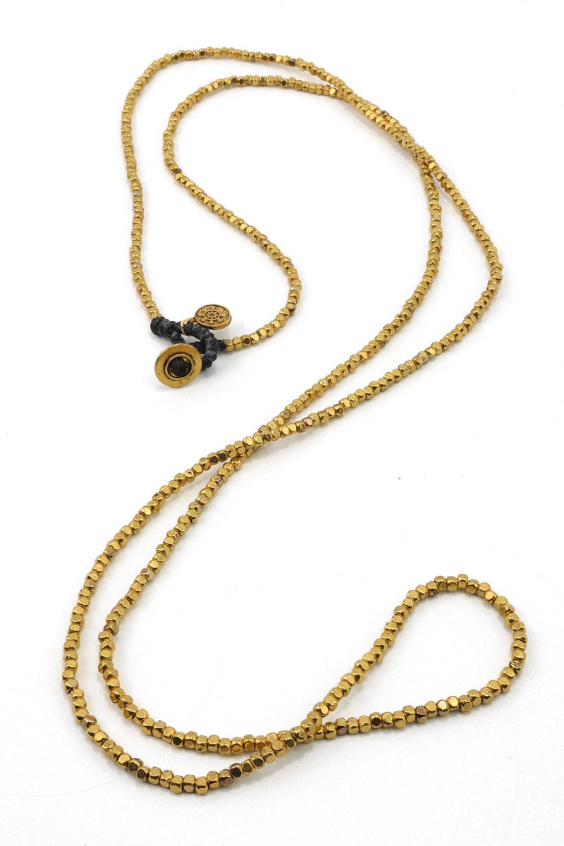 Gold Beaded long Necklace at Filosophyjewelry.com