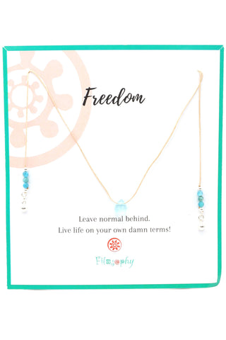 Aquamarine Teardrop Gemstone Necklace - Inspirational Card
