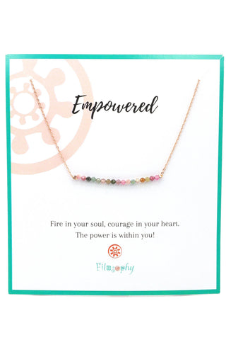 Tourmaline Bar Necklace | Rose Gold - Inspirational Card
