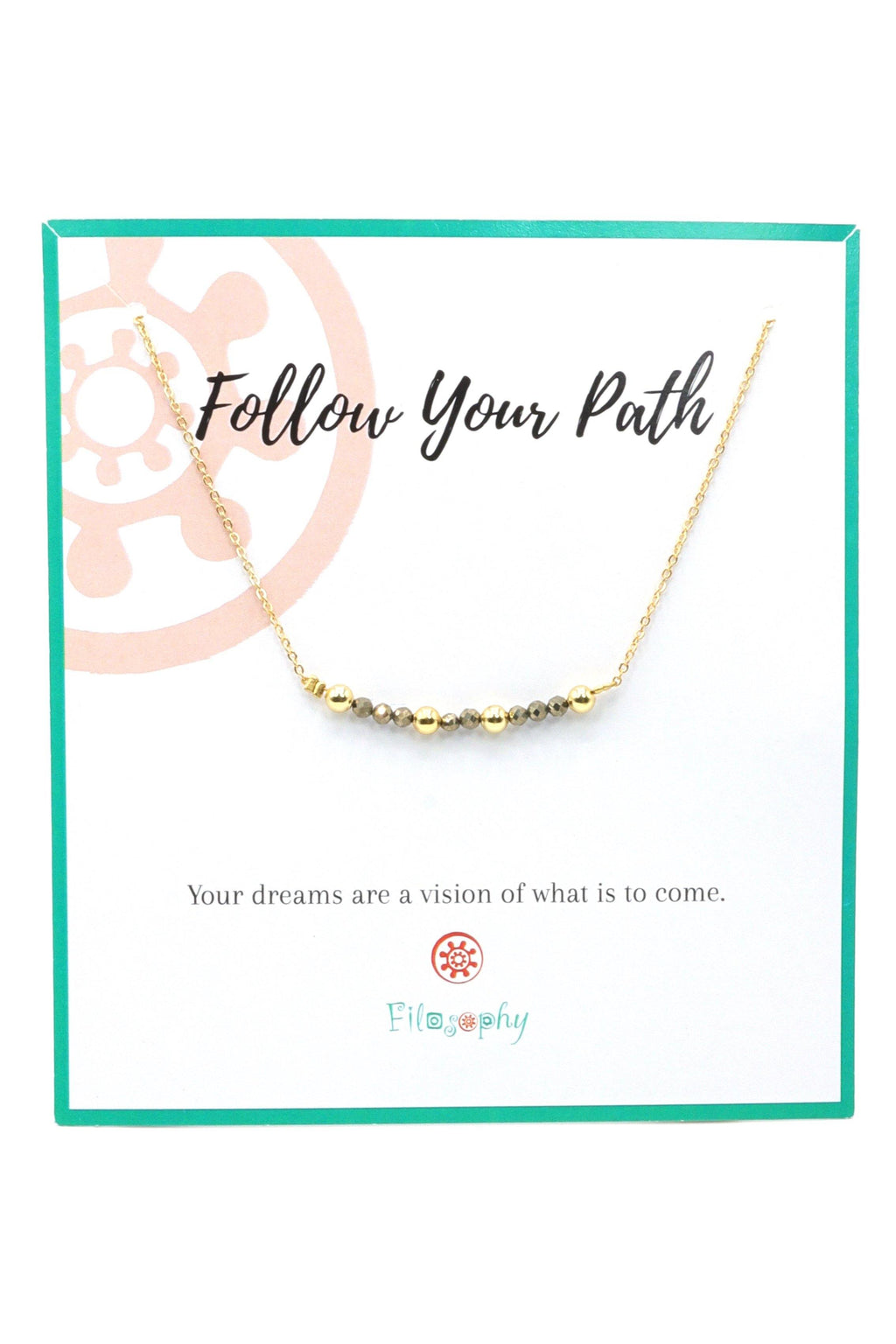 This is a pyrite bar necklace, with 18k gold plated beads on a gold plated chain. Pyrite is an energetic stone, wonderful to help you feel vital and confident to accomplish your goals. This gemstone bar necklace is perfect for layering with other necklaces.