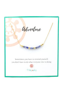 This is a sodalite bar necklace, with 18k gold plated beads on a gold plated chain. Sodalite is wonderful to bring order to your thoughts and helps you analyze your situation with an objective mind. This gemstone bar necklace is perfect for layering with other necklaces. The blue sodalite goes great with jeans.