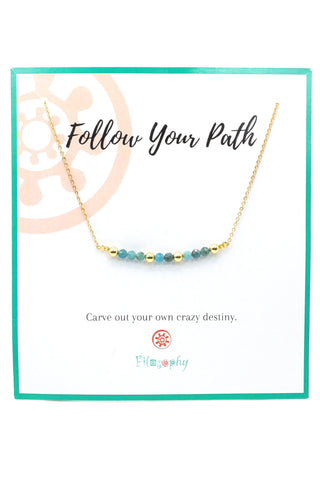 Phoenix Turquoise Bar Necklace - Inspirational Card