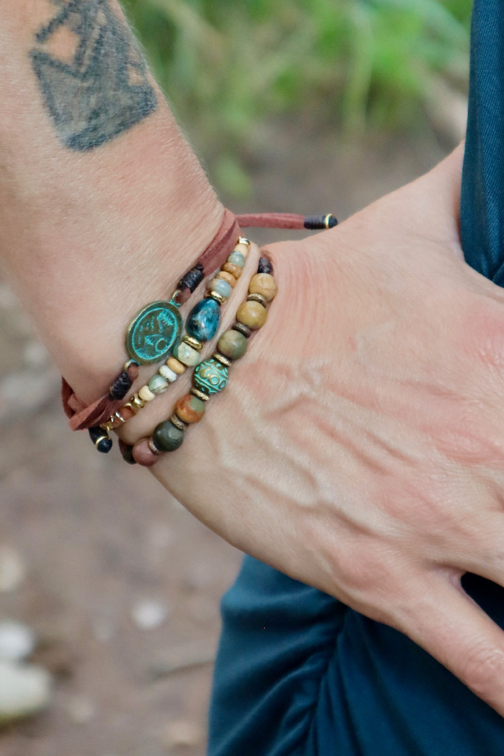 Apatite Gemstone Leather Bracelet