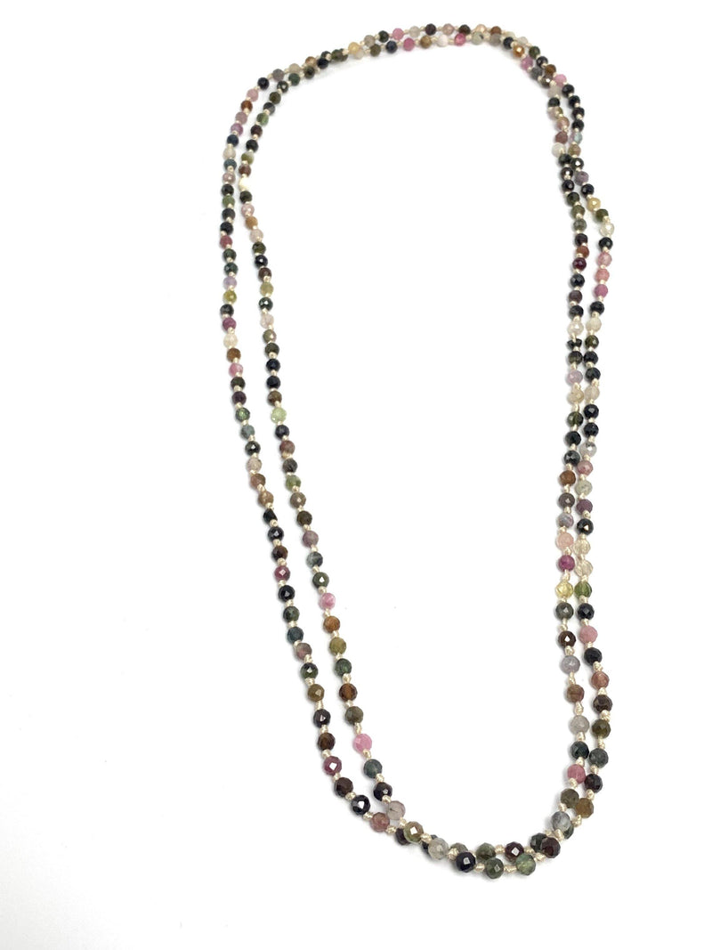 Watermelon Tourmaline Knotted Necklace