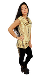 Big Hoodie Sleeveless Top - Gold | Black Tie Dye