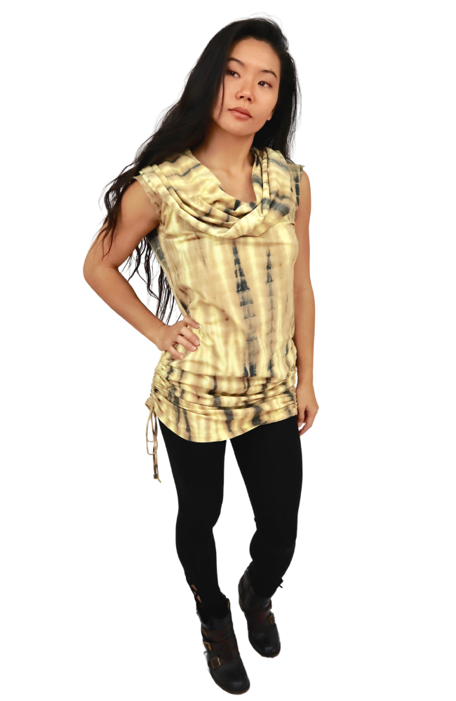 Big Hoodie Sleeveless Top - Gold | Black Tie Dye - Filosophy