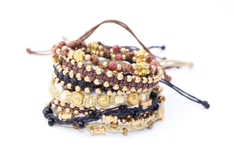 Macrame Beaded Bracelet - Gold - Filosophy
