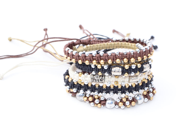 Macrame Beaded Bracelet - Silver & Gold - Filosophy