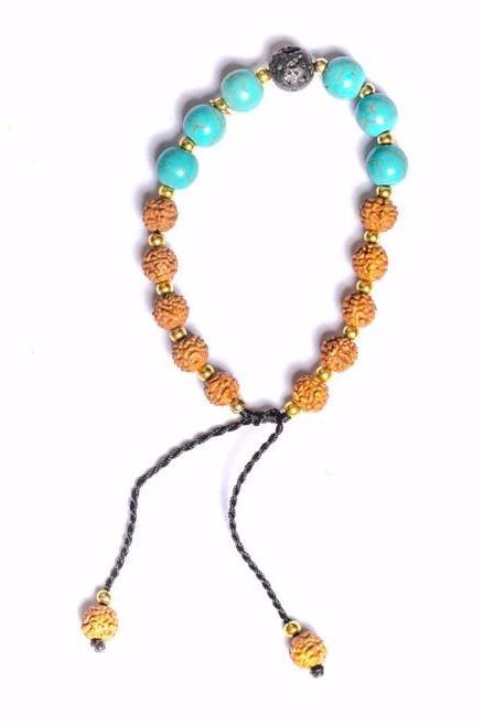 Rudraksha Bracelet with Lava Rock and Turquoise Stones - Filosophy