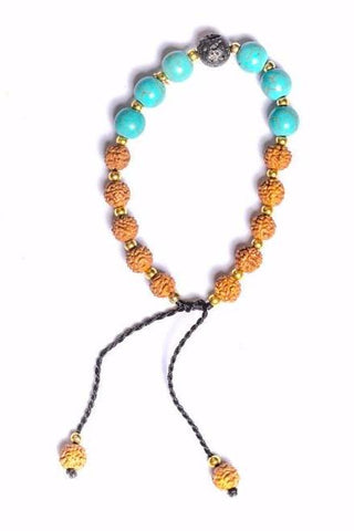 Rudraksha Bracelet with Lava Rock and Turquoise Stones