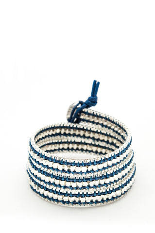 Wrap Bracelet - Blue Leather Cord | Silver Chain | Metal Beads