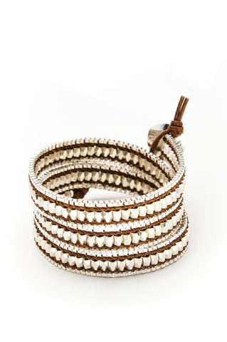 Wrap Bracelet - Brown Leather Cord | Silver Chain | Metal Beads - Filosophy