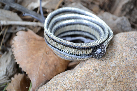 Filosophy Jewelry. Wrap Bracelet. Silver Metal Weaving