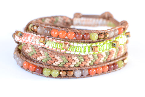 Wrap Bracelet - Brown Cord | Orange | Green Stone | Mix Media