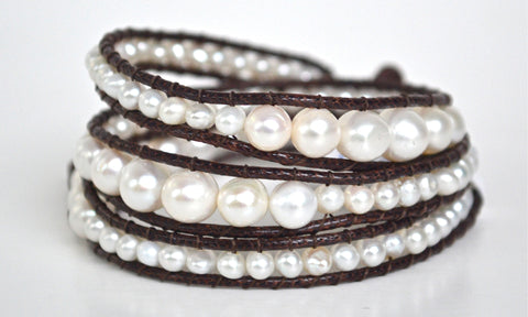 Filosophy Jewelry. Wrap Bracelet. White Pearls on Brown Cord.