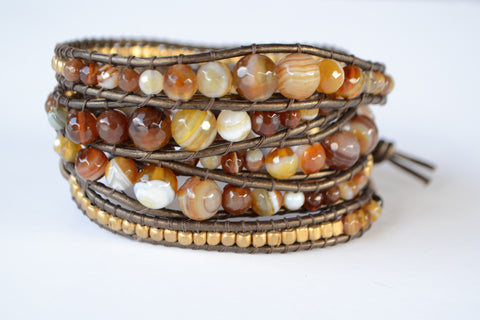 Wrap Bracelet - Dark brown leather cord |  Brown Agate | Copper Beads