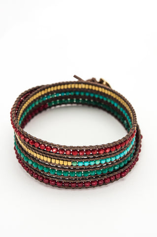 Wrap Bracelet - Brown Cotton Cord | Turquoise & Red Gemstones | Gold Beads