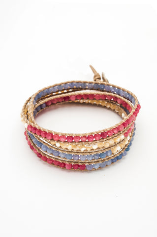 Wrap Bracelet - Tan Cotton Cord | Pink, Cream, Blue Gemstones - Filosophy