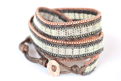 Filosophy Jewelry. Wrap Bracelet-Silver, Copper, and Brown Metal