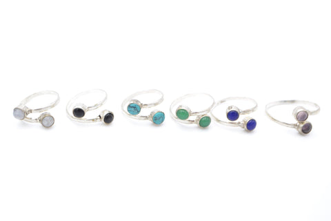 Double Gemstone Silver Ring - Filosophy
