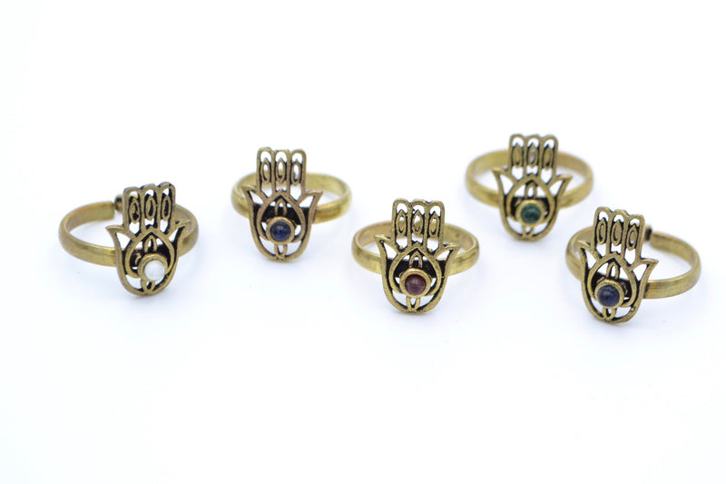 Gemstone Hamsa Ring - Filosophy