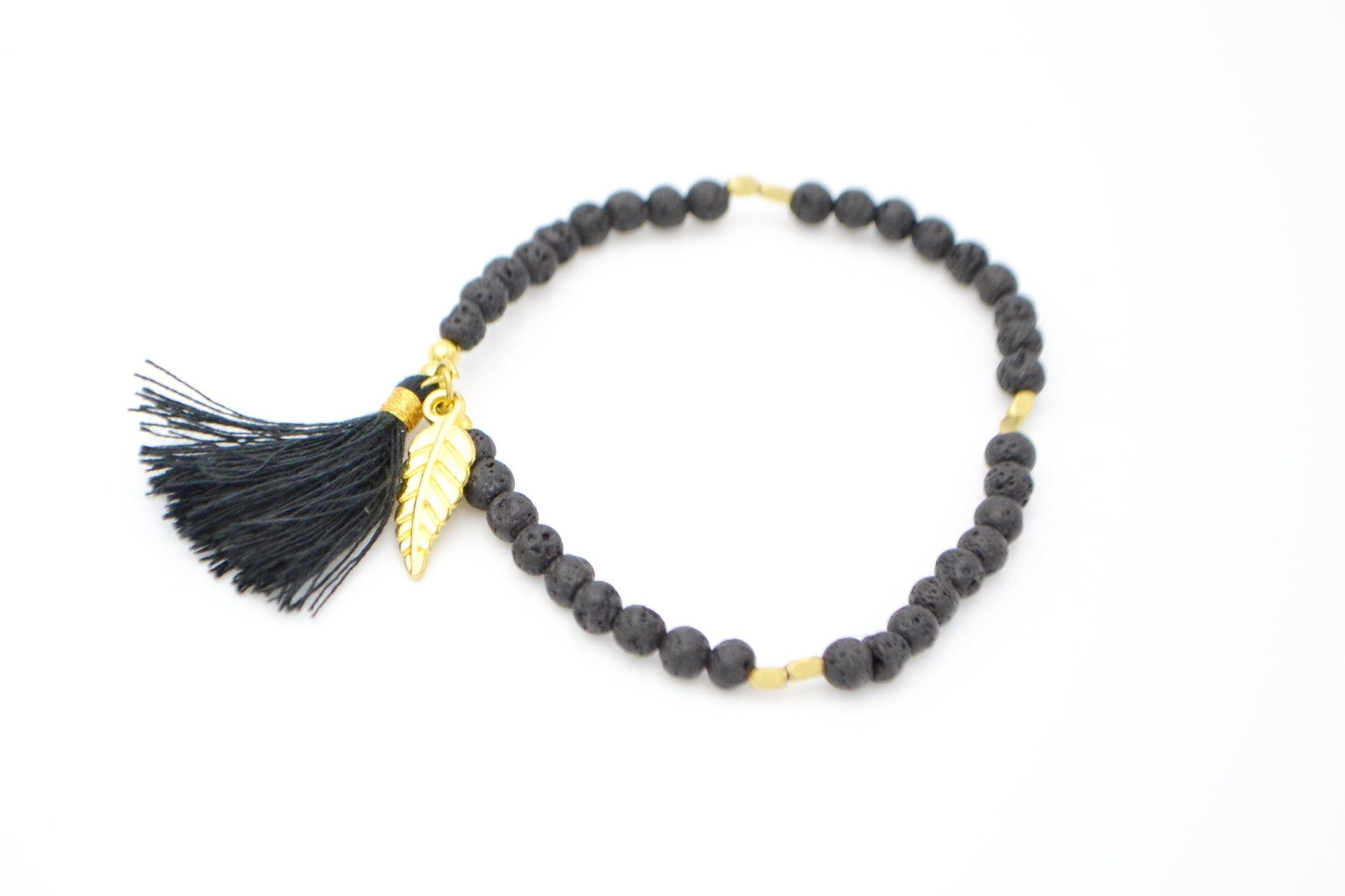 Lava Stone Feather Charm Bracelet - Filosophy