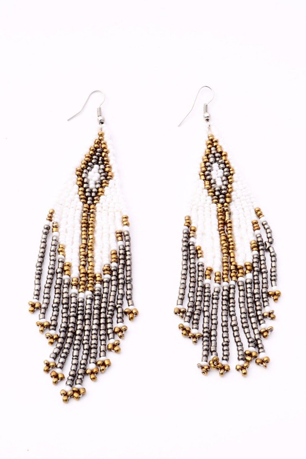 Boho Beaded Earrings - White | Gold | Smoke - Filosophy