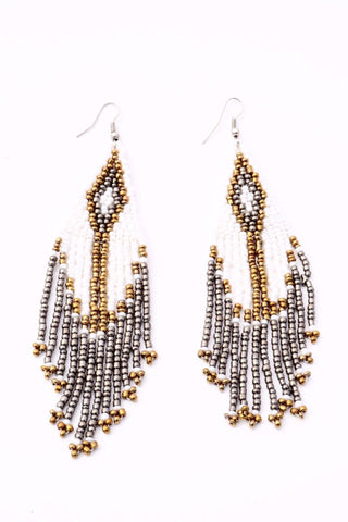 Boho Beaded Earrings - White | Gold | Smoke
