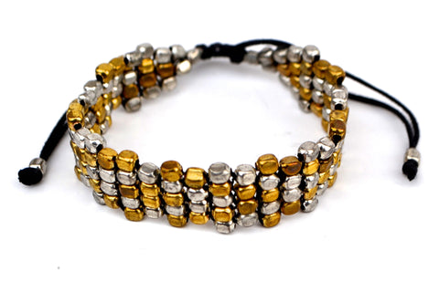 Silver and Gold Bead Pull Bracelet