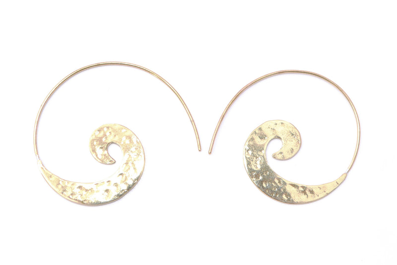 Tribal Earrings-Flat Hammered Swirl - Filosophy