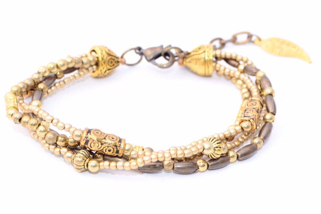 Brass Bead Bracelet with Leaf - Filosophy