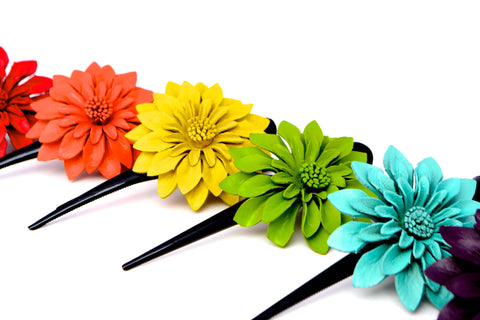 Leather Flower Hair Clips - Large - Filosophy