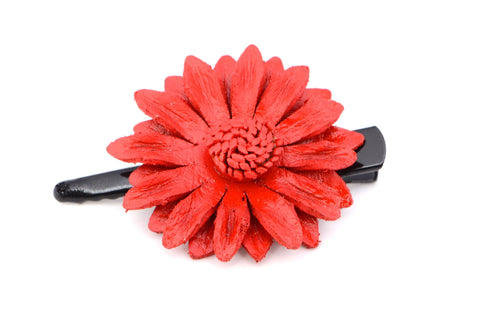 Leather Flower Hair Clips - Small