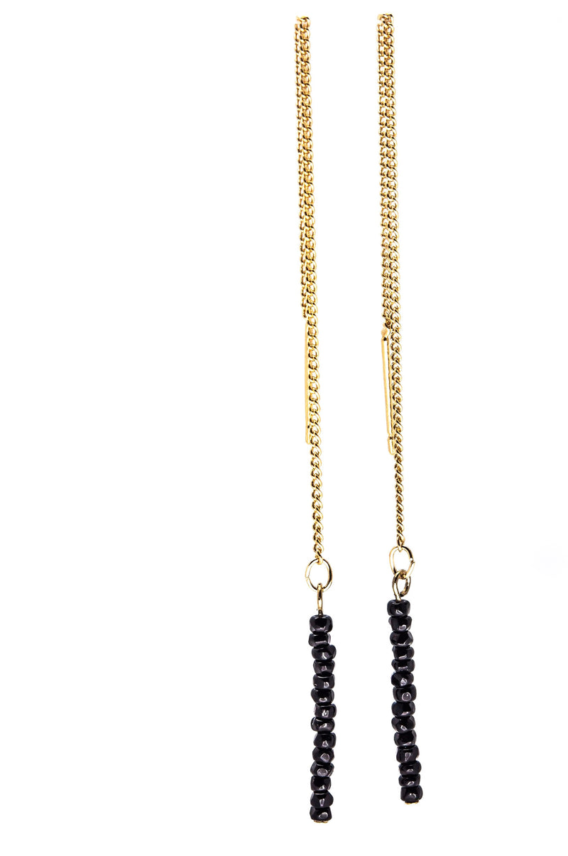 Dangle Chain Stone Earrings - Black & Gold - Filosophy