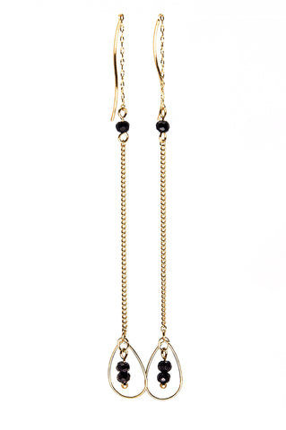 Dangle Chain Stone Teardrop Earrings  - Gold & Black - Filosophy