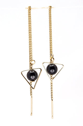 Dangle Chain Triangle Earrings - Gold & Black - Filosophy