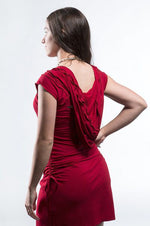 Short Sleeved Hooded Dress - Dark Red - Filosophy
