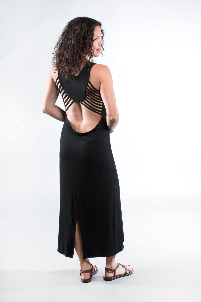 Tie Dye Long Maxi Dress - Solid Black