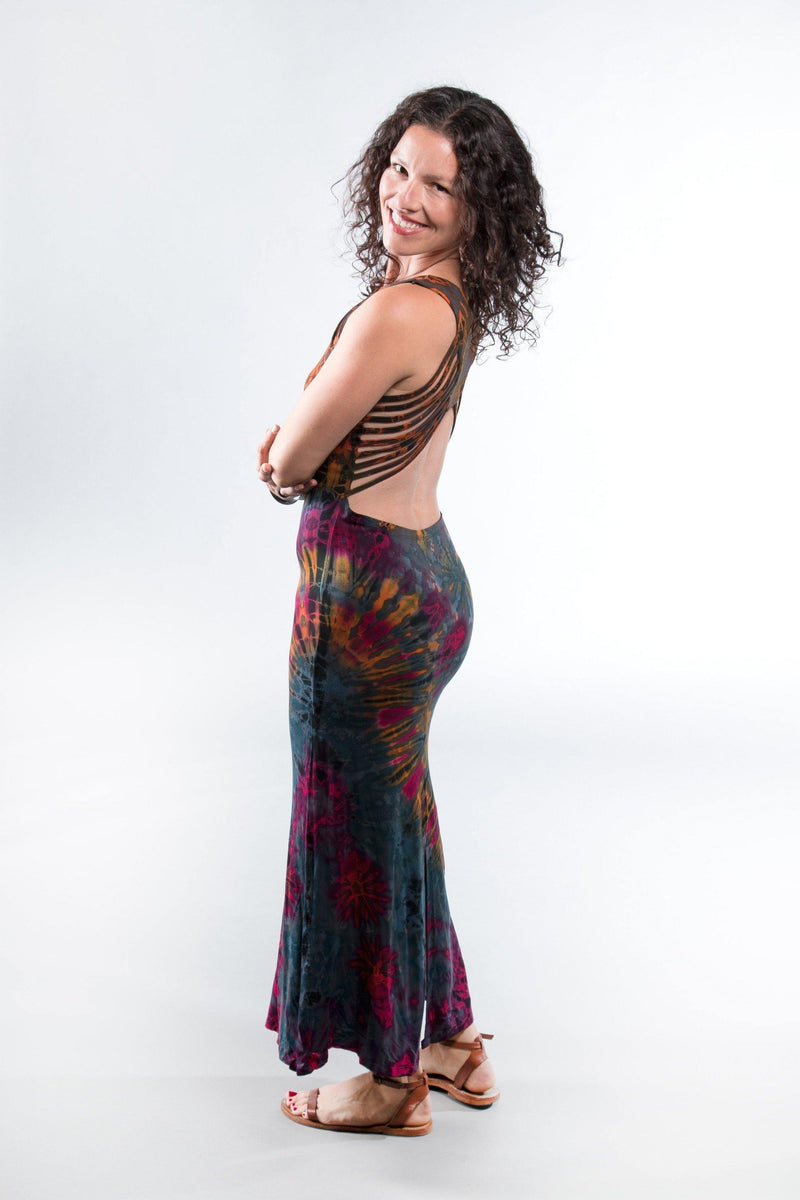 Tie Dye Long Maxi Dress - Gray Tie Dye