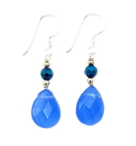 Teardrop Gemstone Earrings: Blue