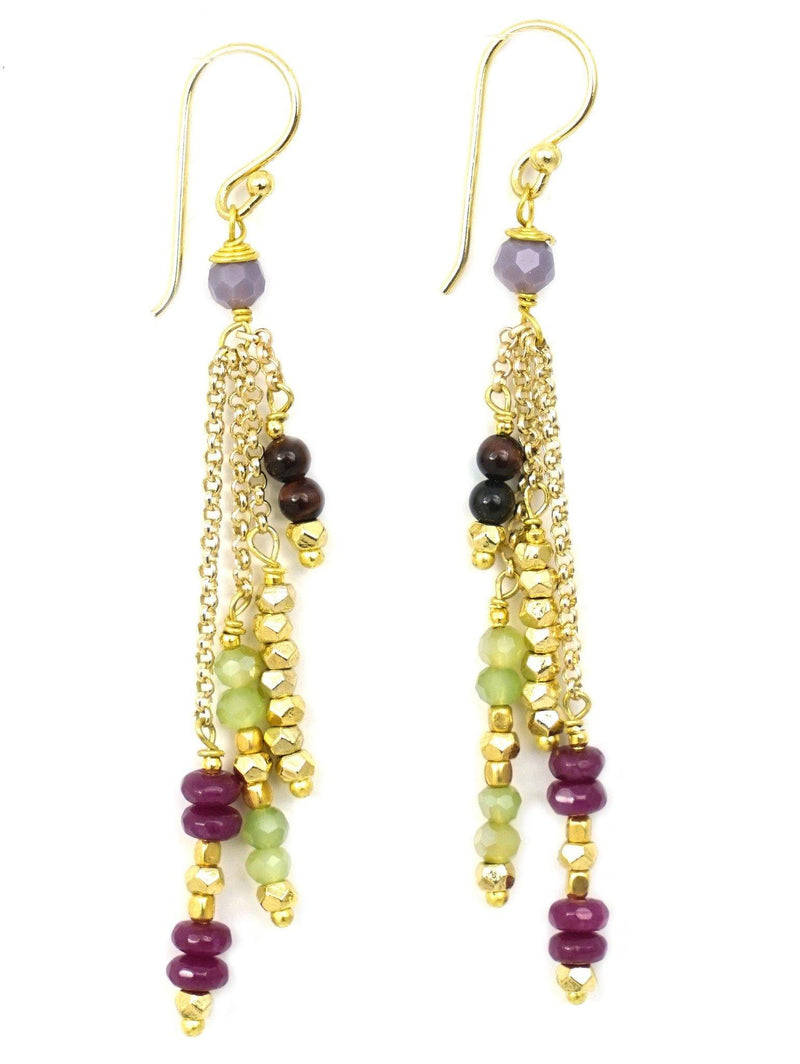These are handmade, fair trade earrings made with gemstones and brass beads on a gold plated chain with gold plated hooks. These dangly, layered gemstone and brass earrings strung on a elegant gold chain have beautiful natural colors that accentuate your skin tone and align your face fabulously.