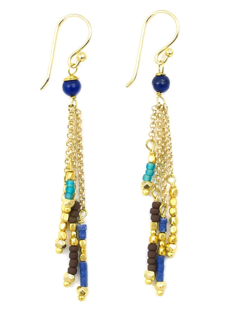 These are handmade, fair trade earrings made with gemstones and brass beads on a brass chain. These long drop style earrings are an elegant and sophisticated style. These dangly, layered gemstone earrings flow along your face and peak through your hair shaping your face flawlessly.