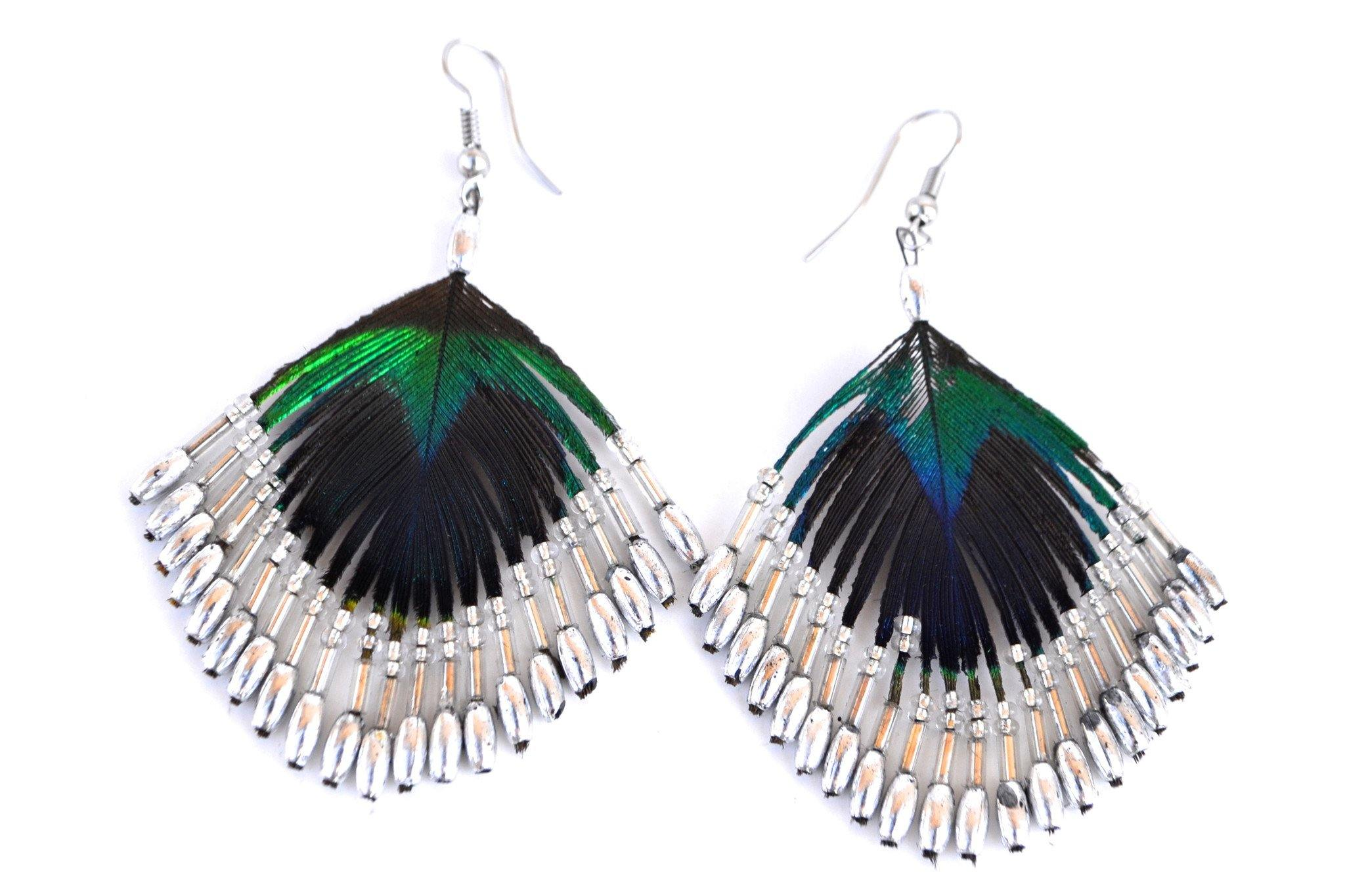 Beaded Peacock Earrings - Silver - Filosophy