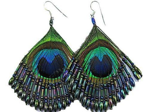 Beaded Peacock Earrings - Teal - Filosophy