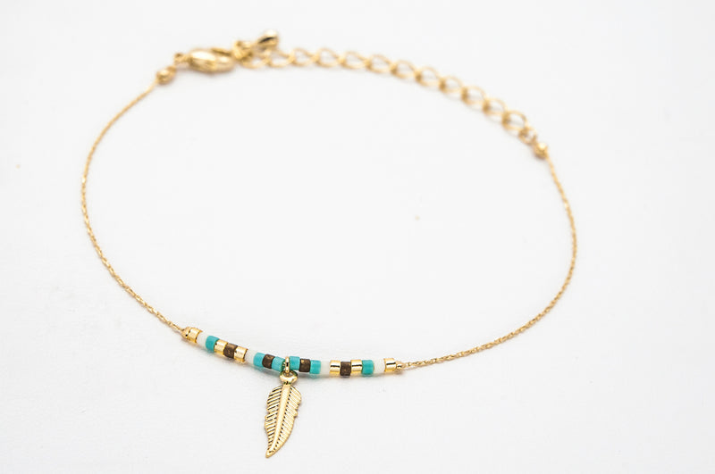 Feather Bracelet -  Turquoise & Gold - Filosophy