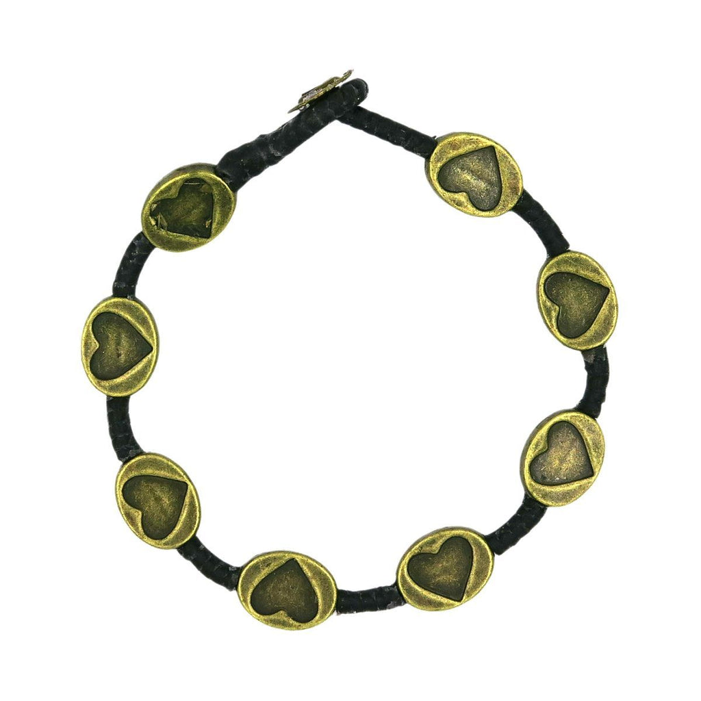 Macrame Bracelet - Brass Indented Heart - Filosophy