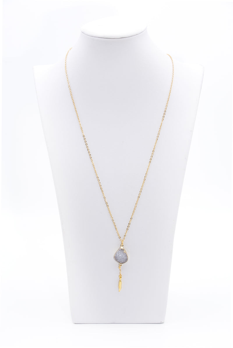 Gold Plated Raw Druzy Stone Pendant Gold Chain Necklace With Feather Charm - Filosophy