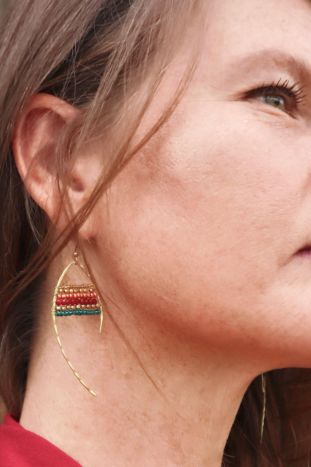 Fish Beaded Earrings - Burgundy | Gold